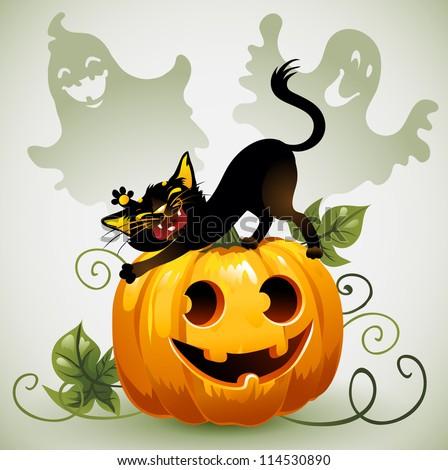 Black cat on Halloween pumpkin and ghost. - stock vector