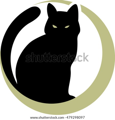black cat on the moon. vector illustration