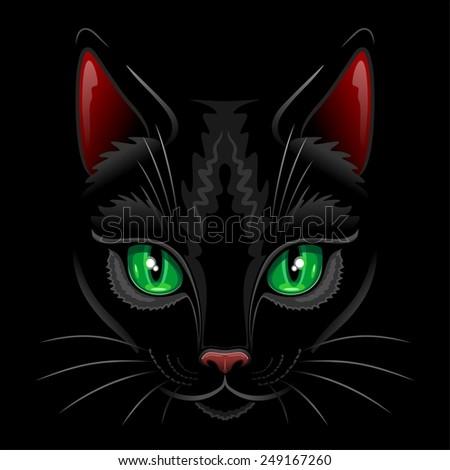 Black Cat Portrait  - stock vector