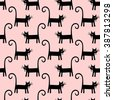 Black cat seamless pattern on pink background. Cute cartoon cat vector illustration. Child drawing style kitty background. - stock vector