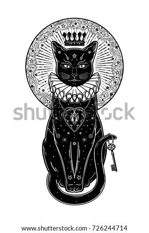Hissing Black Cat Silhouette