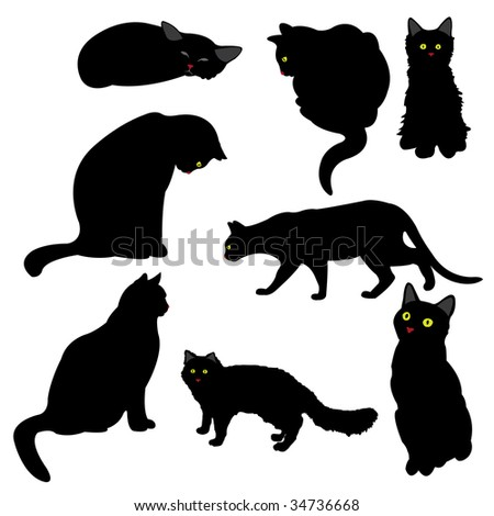 black cat silhouettes, vector illustration