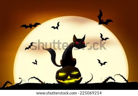 Black cat sitting on pumpkin. Vector eps 10 - stock vector