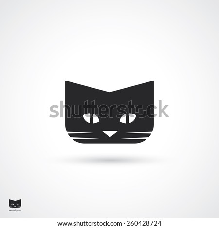 Black cat symbol - vector illustration - stock vector