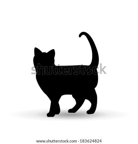 black cat, vector illustration - stock vector