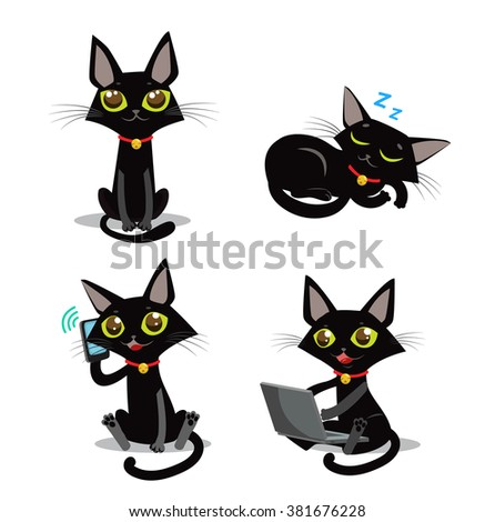 Black Cat Vector Set. Sitting, Sleeping Cat. Cat And Phone And Computer. Cartoon Pictures Vector Set. - stock vector