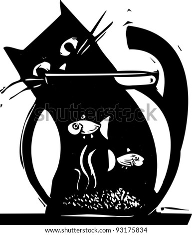 Black cat watching fish in a fishbowl - stock vector