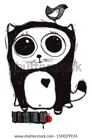 Black cat with big eyes and lettering - stock vector