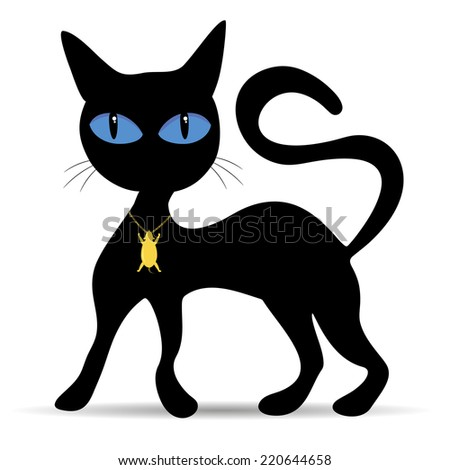 Black Cat with Blue Eyes Vector Illustration - stock vector