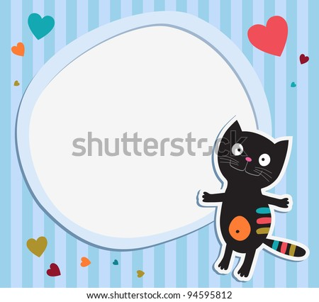 Black cat with frame - stock vector