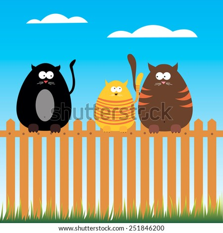 Black Cat with Green Eyes Vector Illustration - stock vector