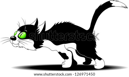 black cat with white spots is preparing to fight - stock vector