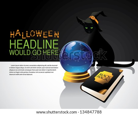 Black Cat with Witch's Hat,  crystal ball and book of magic spells. Background with space for your message. EPS 8 vector, grouped for easy editing. No open shapes or paths. - stock vector