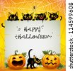 Black Cats Halloween background. Halloween background. The text is on a separate layer. - stock vector