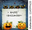 Black Cats night Halloween background. Halloween background. The text is on a separate layer. - stock photo