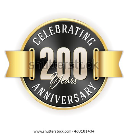 Black celebrating 200 years badge, rosette with gold border and ribbon