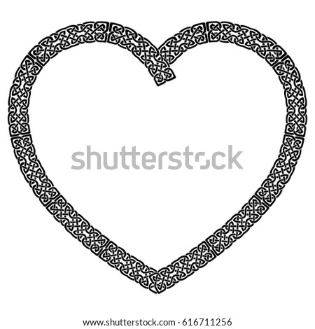 Black Celtic Style Knotted Heart Eternity Stock Vector 616711256