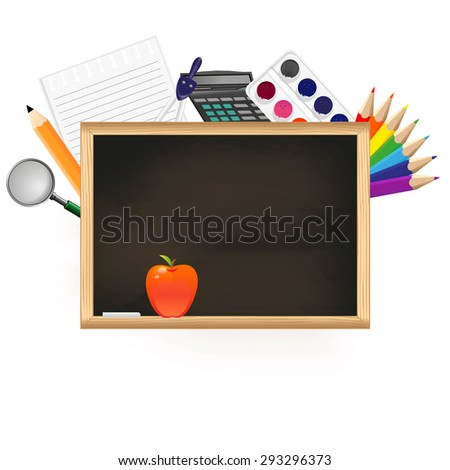 Black chalkboard with school supplies on white background.