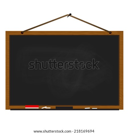 Black chalkboard wood frame with rope hanging on nail - stock vector