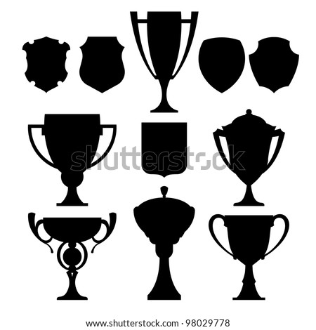 black champion cup and coat of arms vector set  icon - stock vector