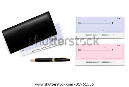 Black checkbook with checks (cheques) and pen. Vector illustration. - stock vector
