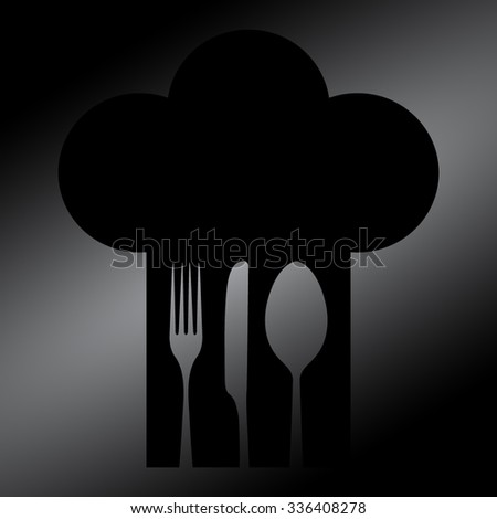 Black Chef hat with fork, spoon and knife inside  - stock vector