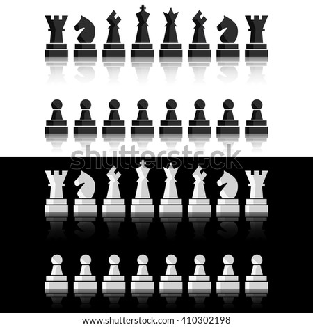 Black chess, chess icons, chess set. Chess board, chess figures. Vector chess, chess illustration, chess pieces. Nine chess, chess different objects including king, queen, bishop, knight, rook, pawn - stock vector