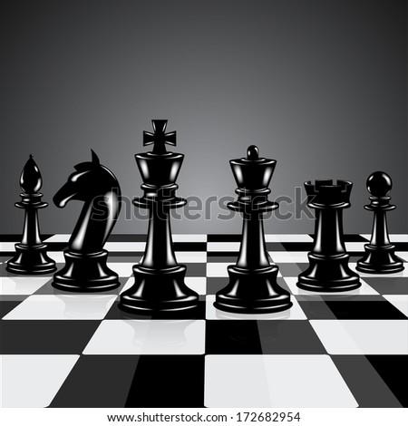 Black chess pieces  - stock vector