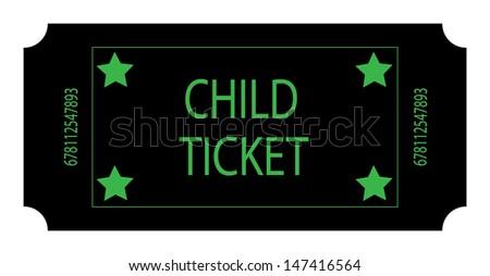 Black Child Ticket. Vector - stock vector