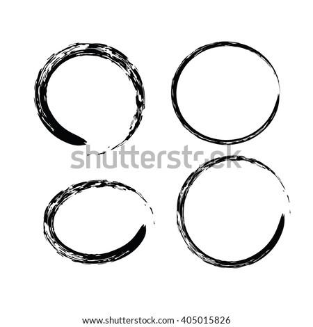 Black Chinese Brush Draw Symbol Zen Stock Photo Photo Vector
