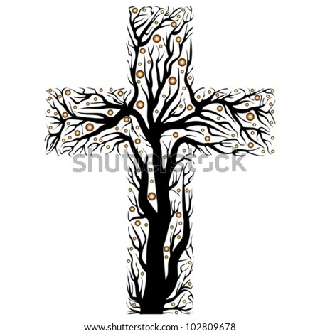 black christian cross, tree shape  on a white background - vector illustration - stock vector