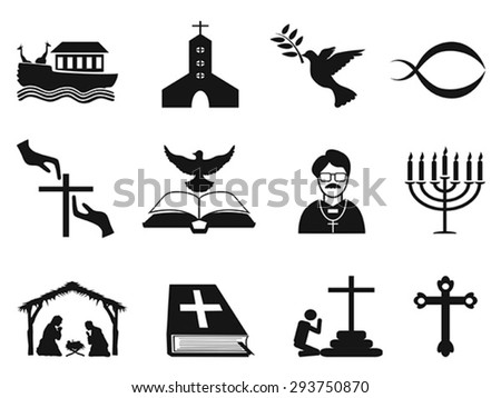 black christian religious icons set - stock vector