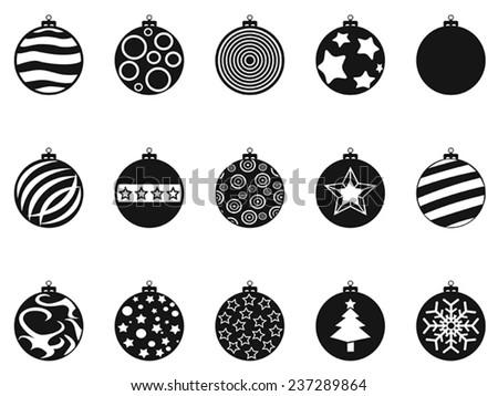 black Christmas ball, christmas bauble icons set - stock vector