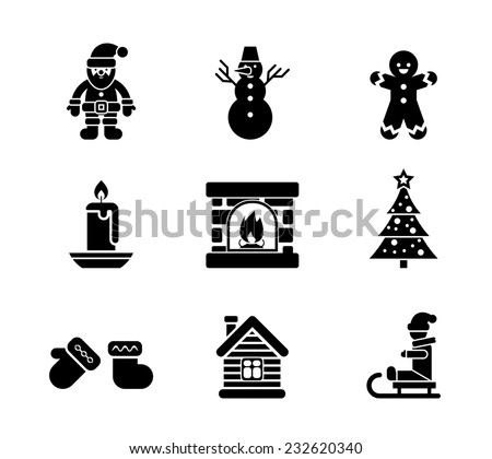Black Christmas Icons  Silhouettes on White Background - stock vector