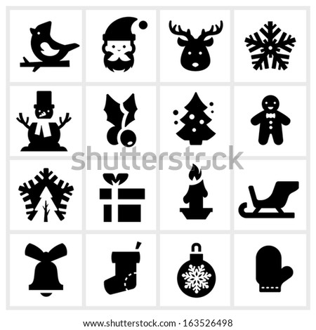 black Christmas icons three
