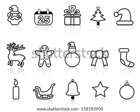 black christmas line icons - stock vector