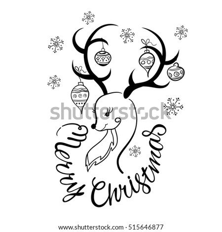Black Christmas reindeer and snowflakes on a white background.