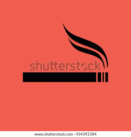 Black cigarette icon vector. Allowed smoking sign - stock vector