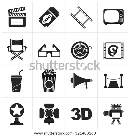 Black Cinema and Movie icons- vector icon set  - stock vector