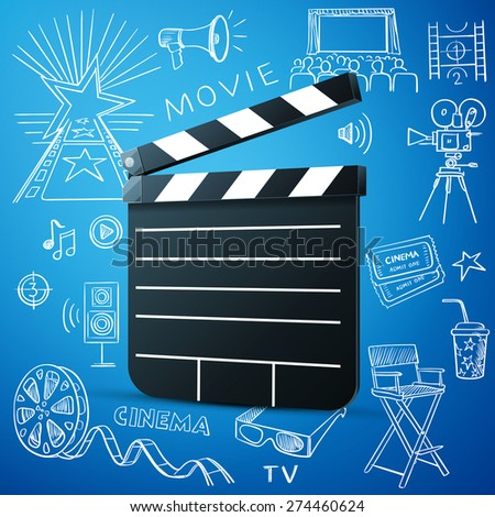 Black cinema clapper and hand draw cinema icon, excellent vector illustration, EPS 10 - stock vector