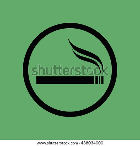 Black circle cigarette vector icon. Allowed smoking sign - stock vector