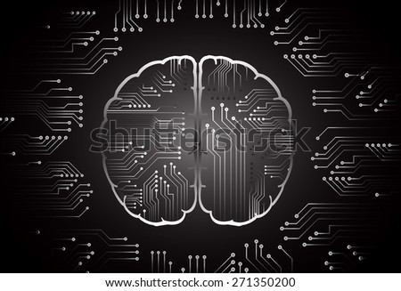 black circuit board brain. Abstract Technology background for computer graphic website internet and business. vector illustration. dark background - stock vector
