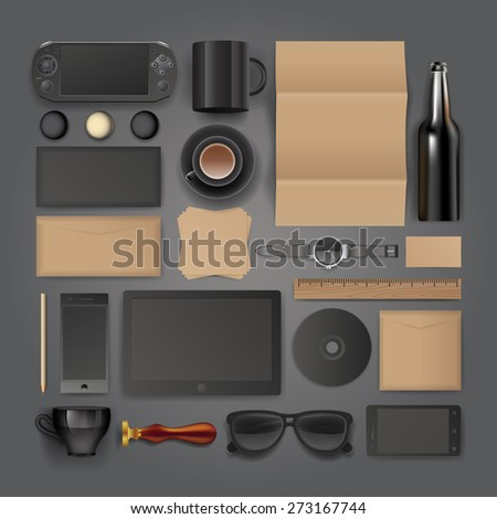 Black classic corporate identity template design. Business stationery - stock vector