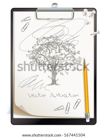 Black clipboard with a painted sketch. Tree drawing drawn in pencil. Top view. Vector illustration. Isolated on white background. Set - stock vector