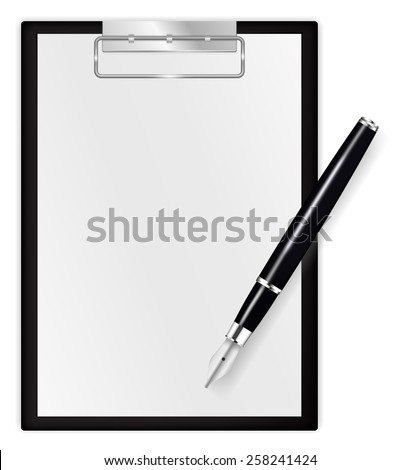 Black clipboard with blank sheets of paper with fountain writing pen - vector drawing isolated on white background