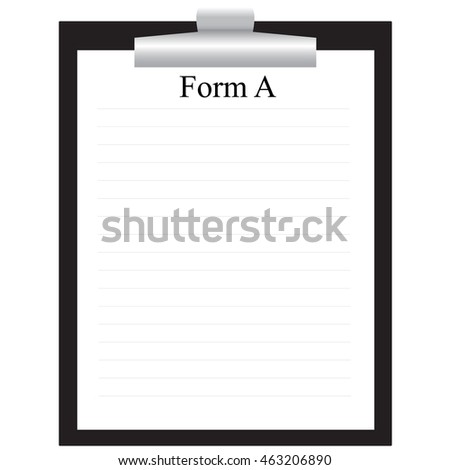 black clipboard with paper form isolated vector illustration