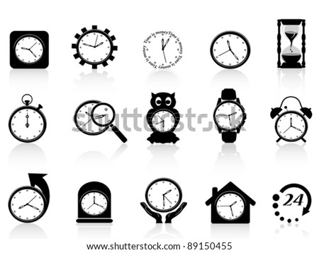 black clock icon set - stock vector