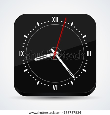 Black clock vector icon