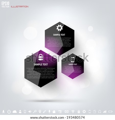 Black cloud computing background with web icons. Social network. Mobile app. Infographic elements. - stock vector