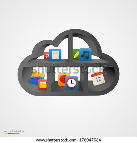 Black cloud database shelf. Vector illustration - stock vector